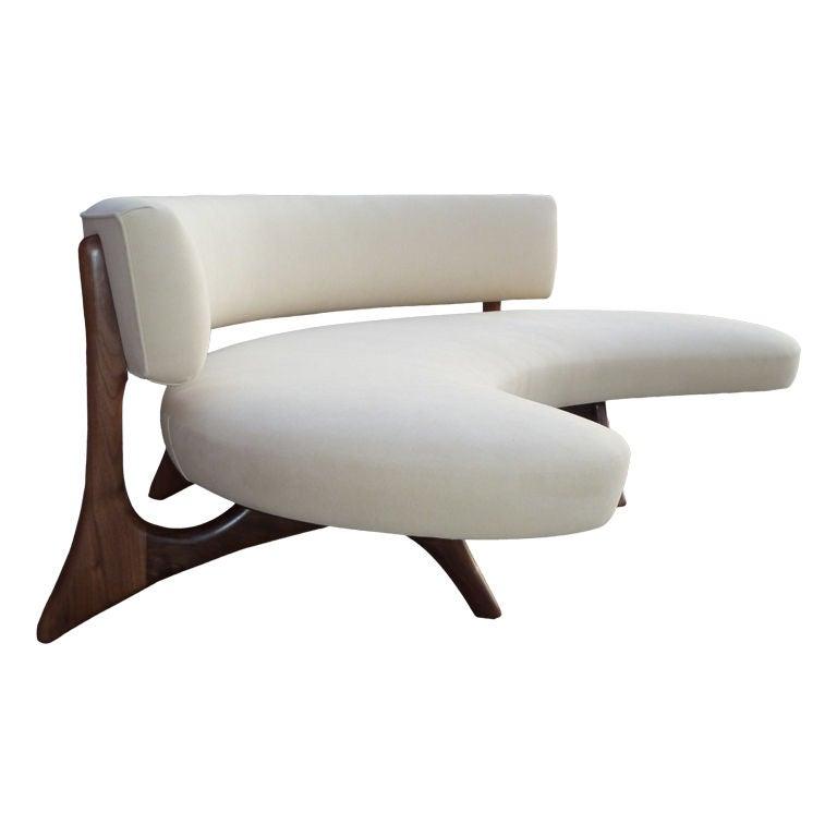 mid century floating curved walnut sofa at 1stdibs
