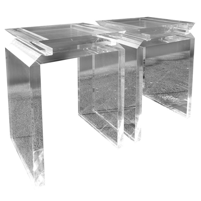 A pair of angular and architectural lucite side tables at for Angular 1 architecture