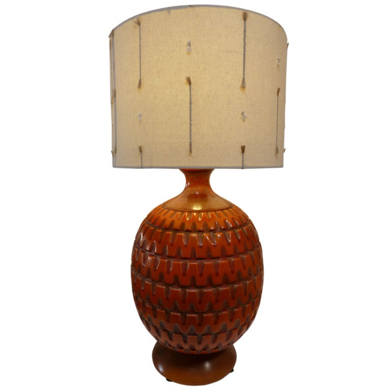 Orange Ceramic Table Lamp At 1stdibs