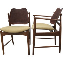 Danish Mid-Century Set of Two Captain Chairs and Four Side Chairs by Arne Vodder