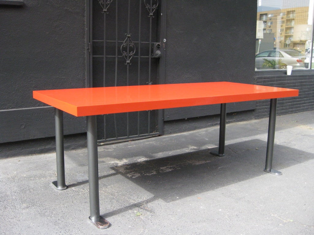 this french 60s red lacquered dining table is no longer available