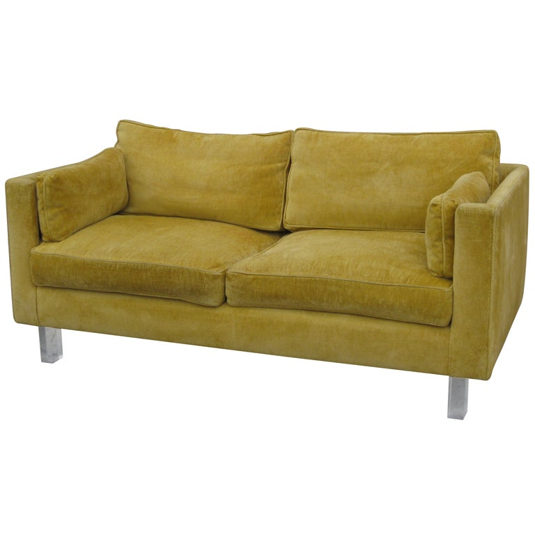 Loveseat with Acrylic Legs at 1stdibs
