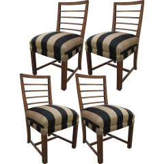Mid-Century Walnut Dining Chairs, Set of Four