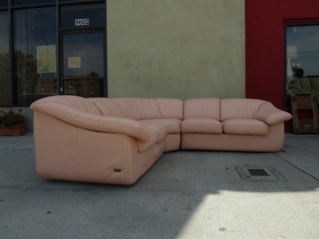 "Wilma"" Powder Pink Leather Sectional Sofa at 1stdibs"