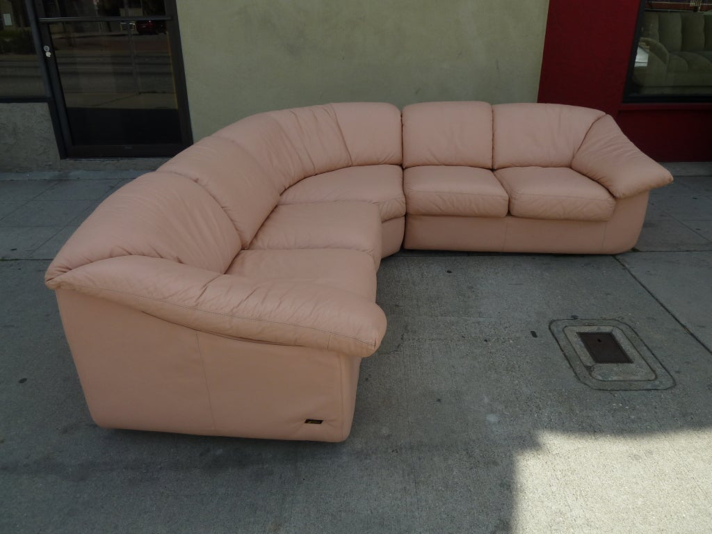 Wilma  Powder Pink Leather Sectional Sofa 3 : pink sectional couch - Sectionals, Sofas & Couches