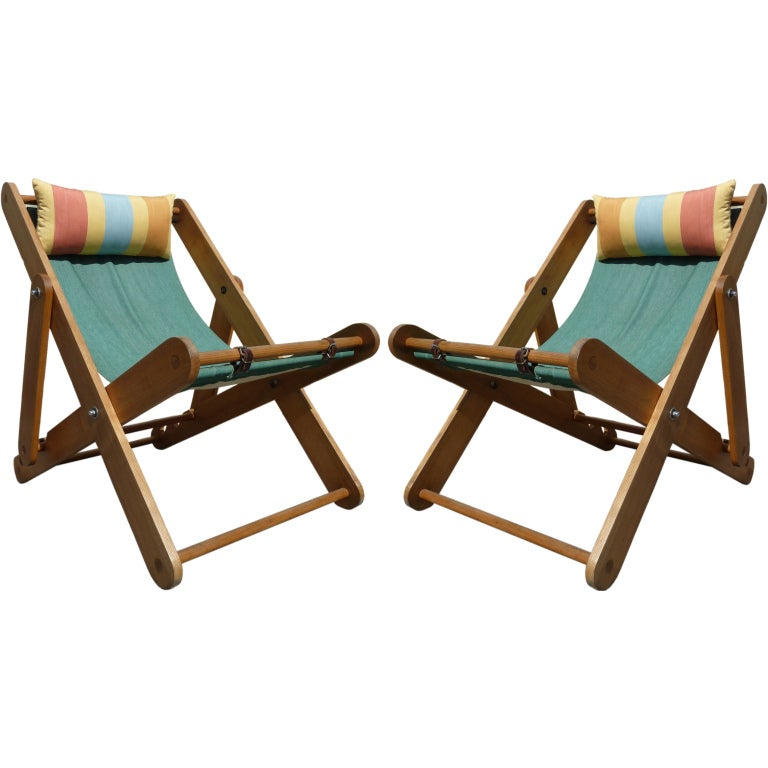 Pair of french 1930s deckchairs at 1stdibs for 1930s chaise lounge