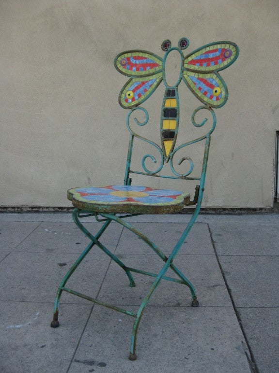 Pair Of Folding Butterfly Dragonfly Mosaic Chairs At 1stdibs
