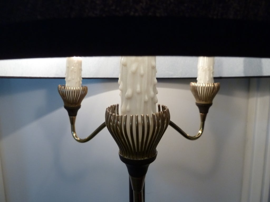 Mid-Century Modern French 1950s Brass Floor Lamp For Sale