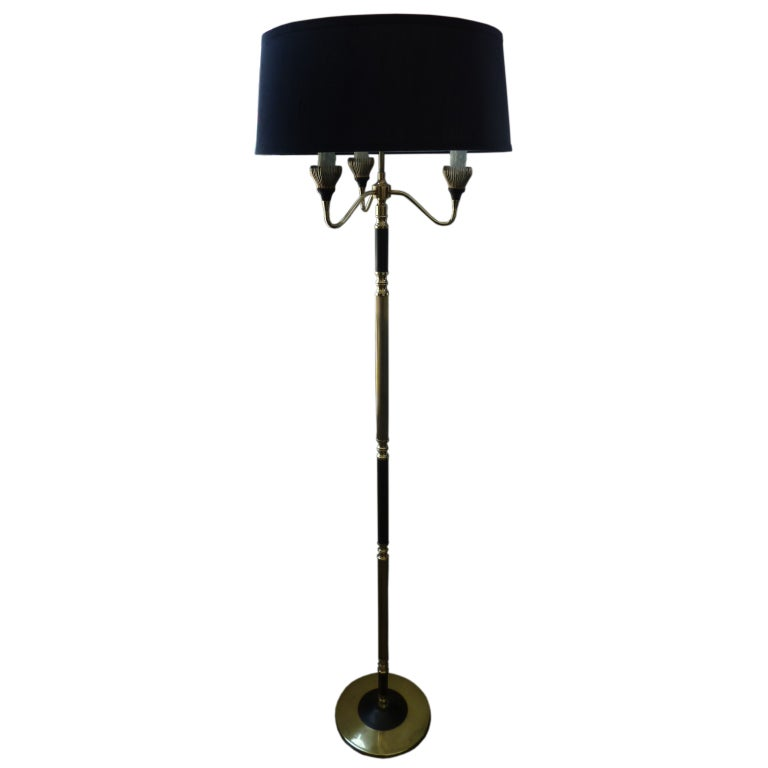 French 1950s Brass Floor Lamp For Sale