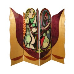 Four-Panel Room Divider in Style of Pablo Picasso