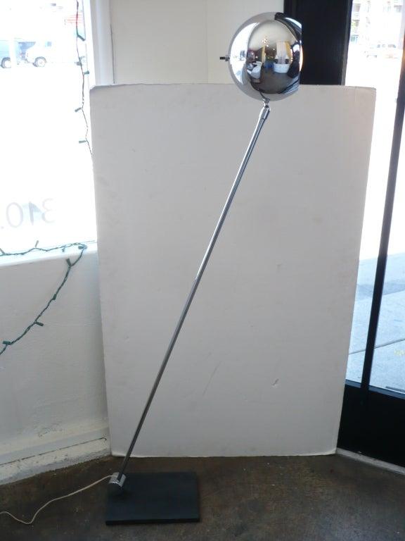 American Mid-Century Adjustable Chrome Floor Lamp by Robert Sonneman For Sale