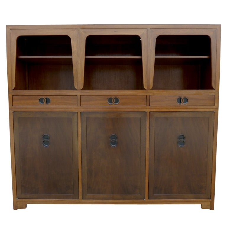 Mid century two tone walnut cabinet by michael taylor for for Best mid priced kitchen cabinets