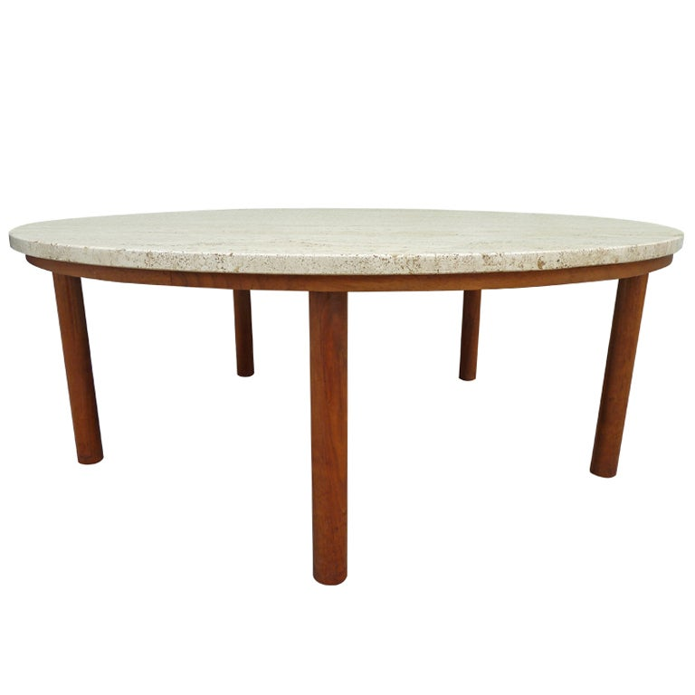 Mid Century Travertine Topped Coffee Table