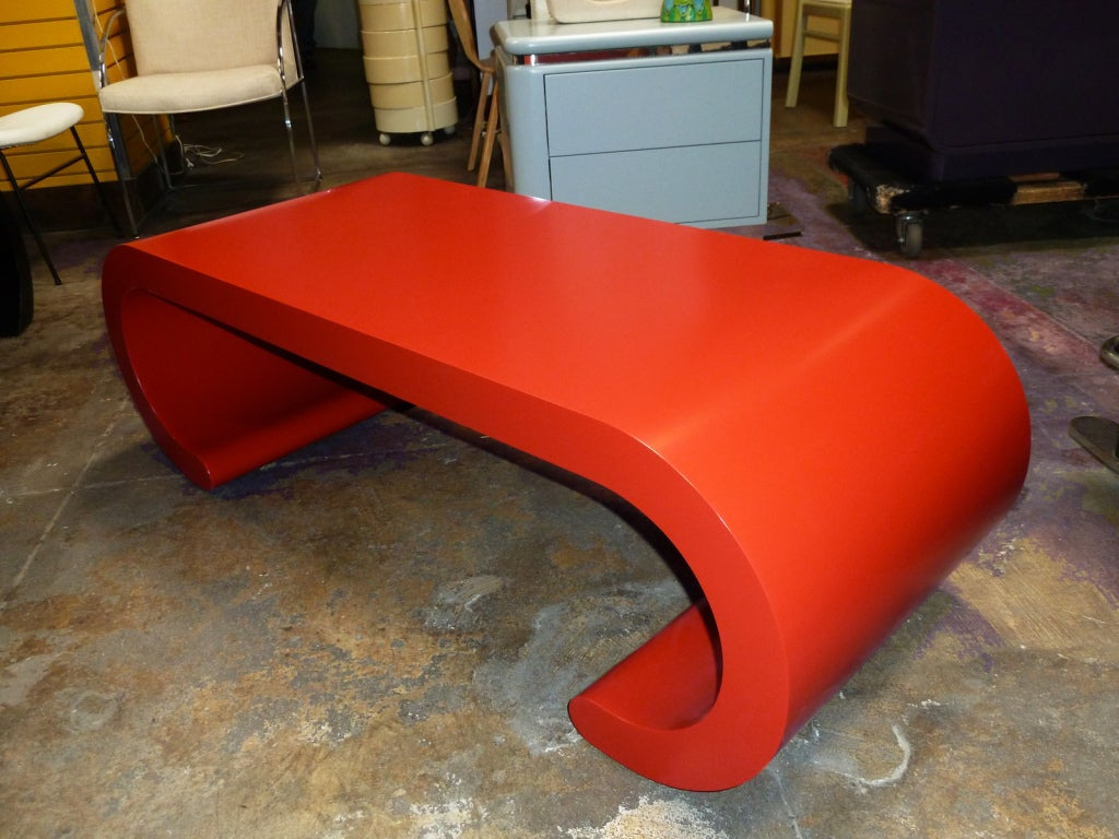 Chic Red Lacquer Scroll Coffee Table At 1stdibs
