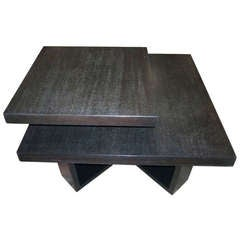 Mid-Century Two-Tier End Table in Ebonized Cerused Oak by Paul Frankl
