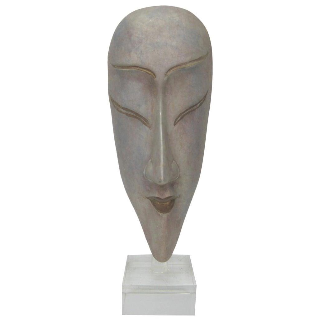 Ceramic Silver Glazed Mask
