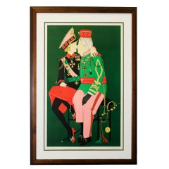 French Mid-Century Whimsical Lithograph by French Artist Denis Noyer