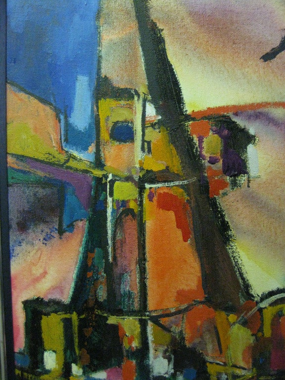 This abstract work is by the notable San Francisco artist Warren Eugene Brandon (1916-1977). The work is signed in the lower left