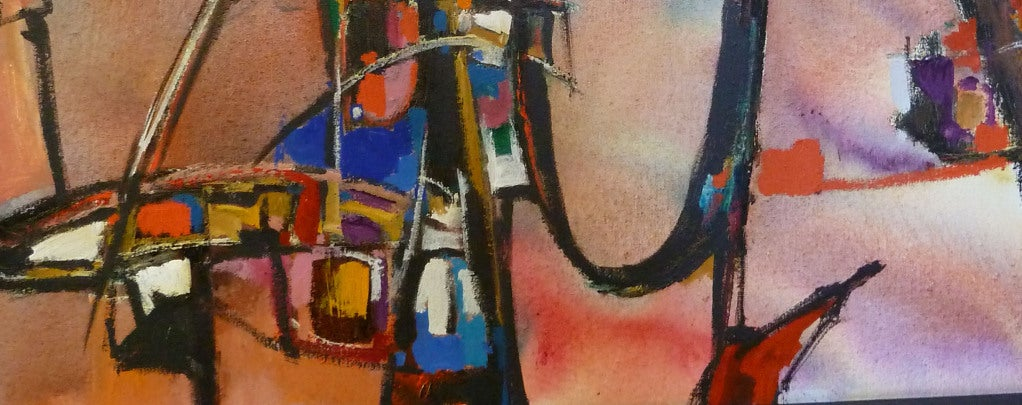American Abstract and Colorful Oil On Canvas by Warren Eugene Brandon For Sale