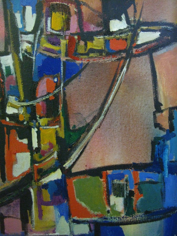 Abstract and Colorful Oil On Canvas by Warren Eugene Brandon For Sale 1