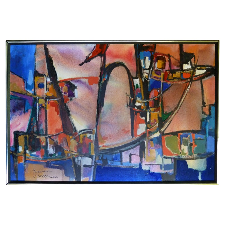 Abstract and Colorful Oil On Canvas by Warren Eugene Brandon For Sale