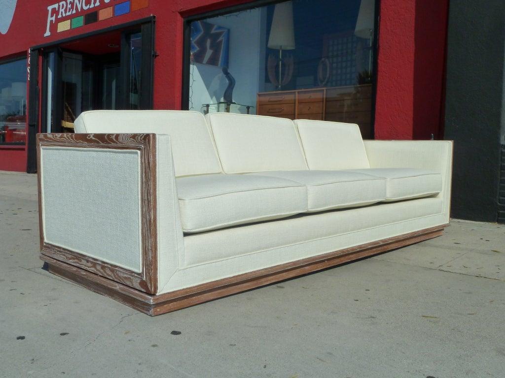 Mid-Century Three Seat Sofa With Cerused Wood Frame 2