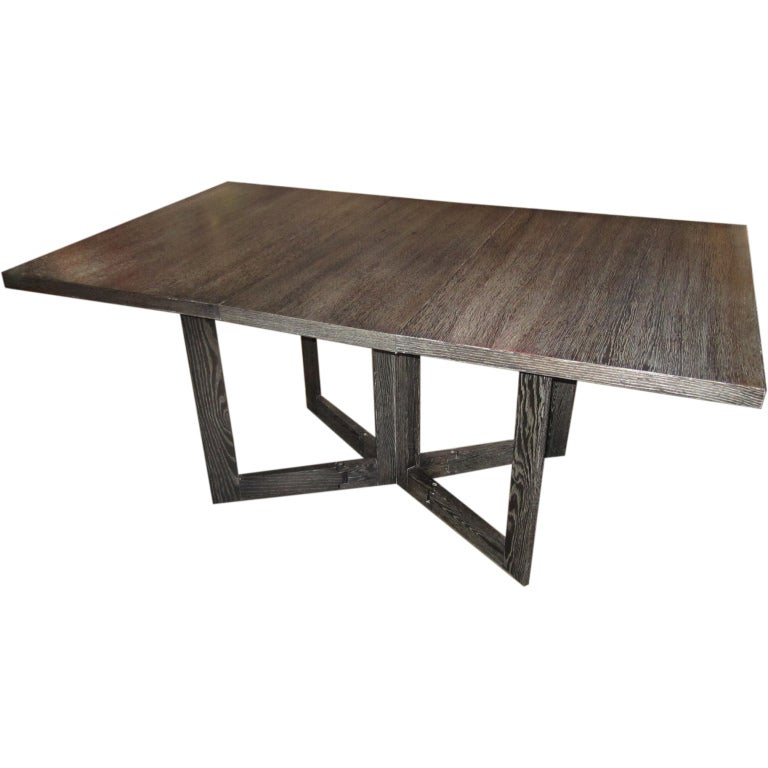 Architectural Drop Leaf Cerused Dining Table At 1stdibs