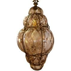 Italian Mid-Century Handblown Pale Rose Murano Glass Pendant Lamp