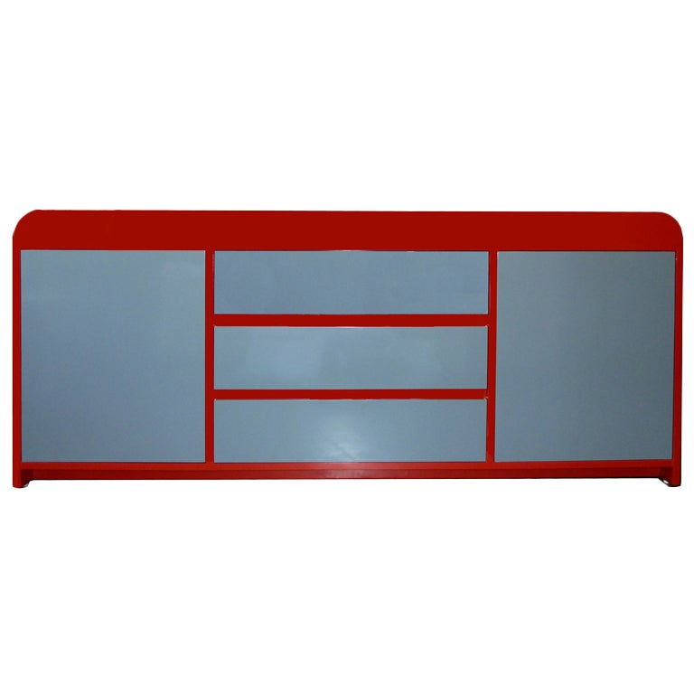 Red And Grey Lacquer Credenza At 1stdibs