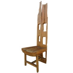 California Designed Red Wood High Back Chair