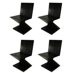 Zig-Zag Dining Chairs in Cerused Oak in Style of Gerrit Rietveld, Set of Four