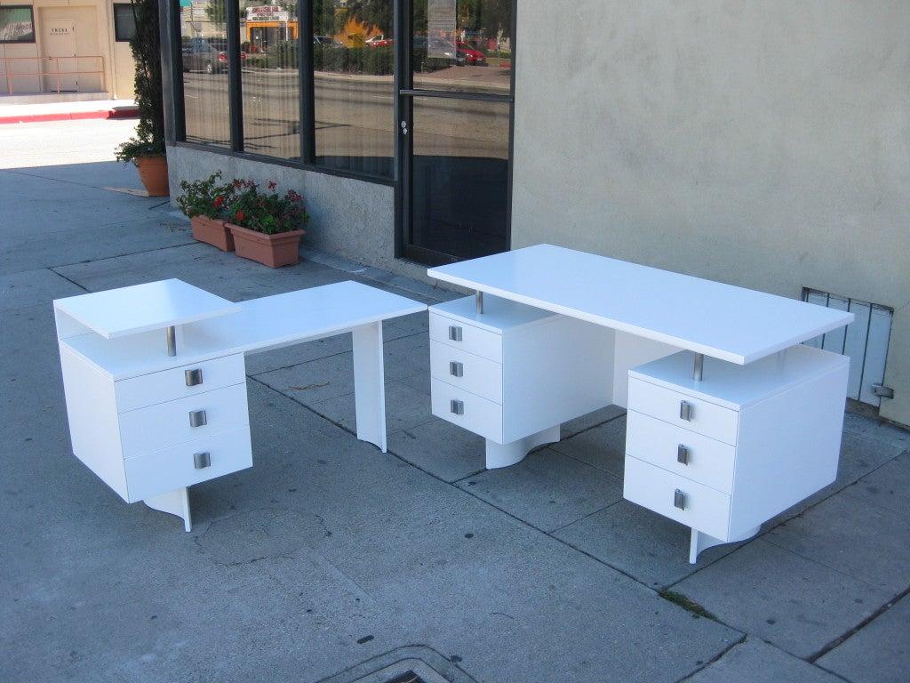 Eliel Saarinen Lacquered Desk With Return For Johnson