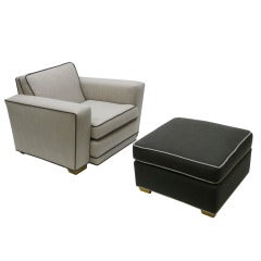 Speed Chair with Ottoman in the Manner of Paul Frankl