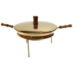 Austrian Mid-Century Brass & Bamboo Fondue Set by Carl Auböck