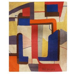 Mid-Century Abstract Tapestry with Squares by Miripolsky