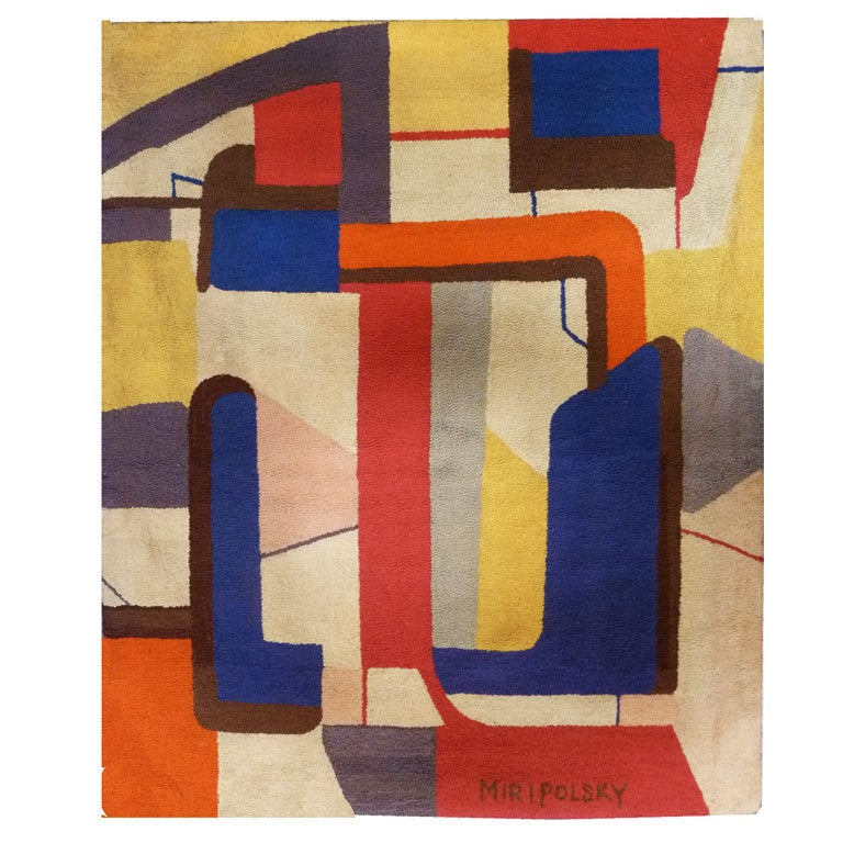 Mid Century Abstract Tapestry With Squares By Miripolsky