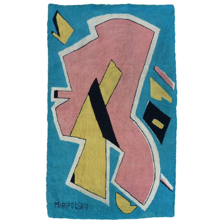 Mid-Century Playful Abstract Tapestry by Miripolsky