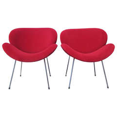 Pierre Paulin-Style Orange Slice Chairs in Red Velvet