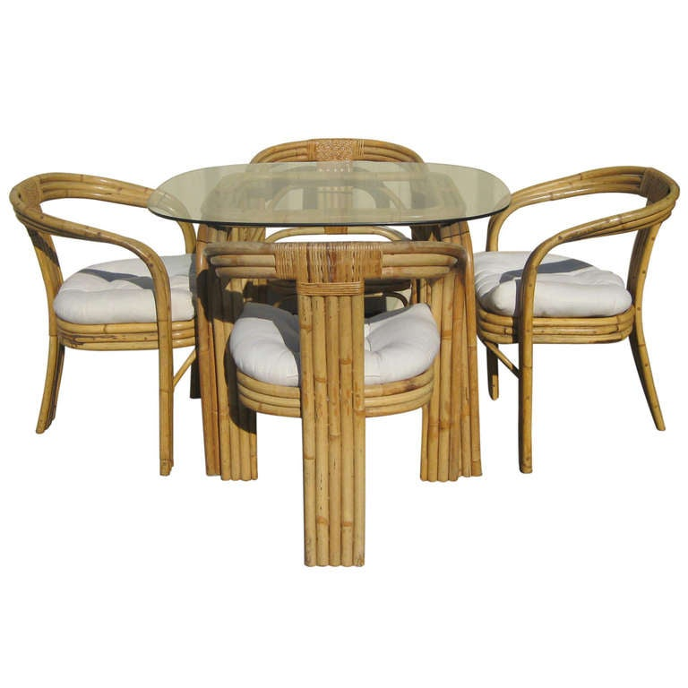 Bamboo And Rattan Dining Set In The Manner Of Paul Frankl