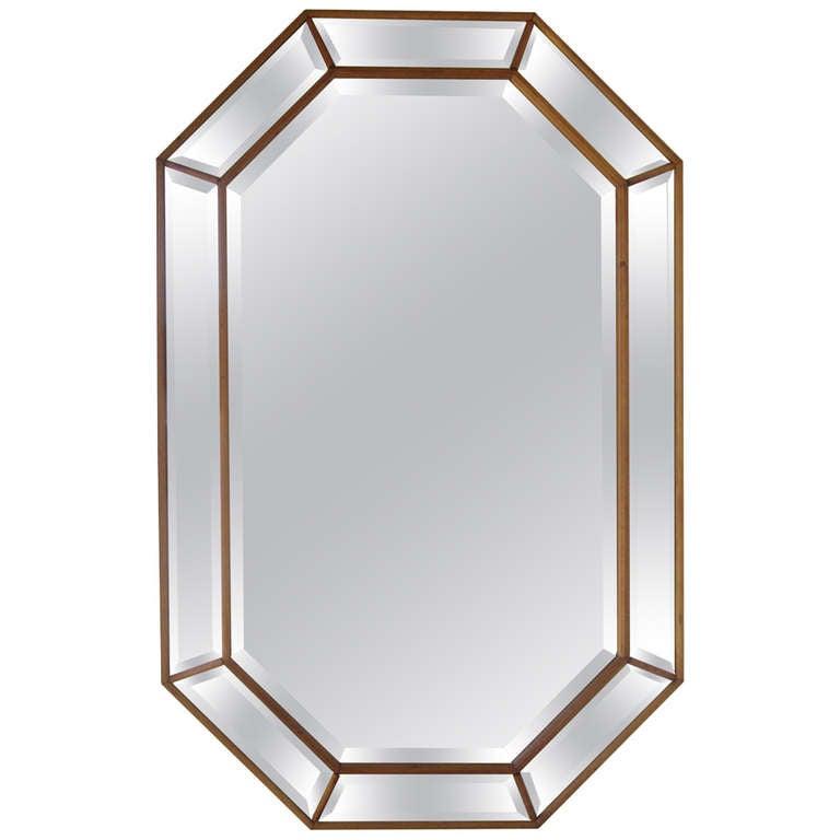Elegant octagonal beveled mirror at 1stdibs for Octagon beveled mirror