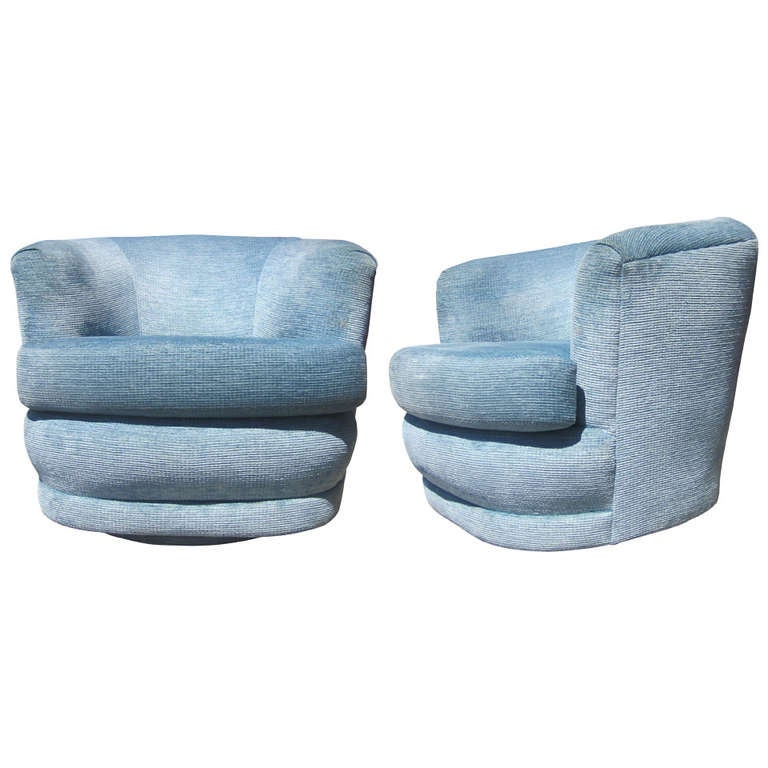 Pair Of Powder Blue Velvet Swivel Chairs Attributed To Milo Baughman For