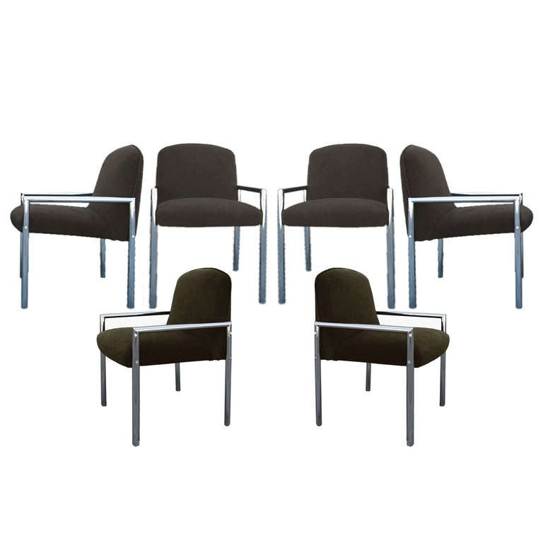 Set of 6 Architectural and Minimal Chrome Chairs