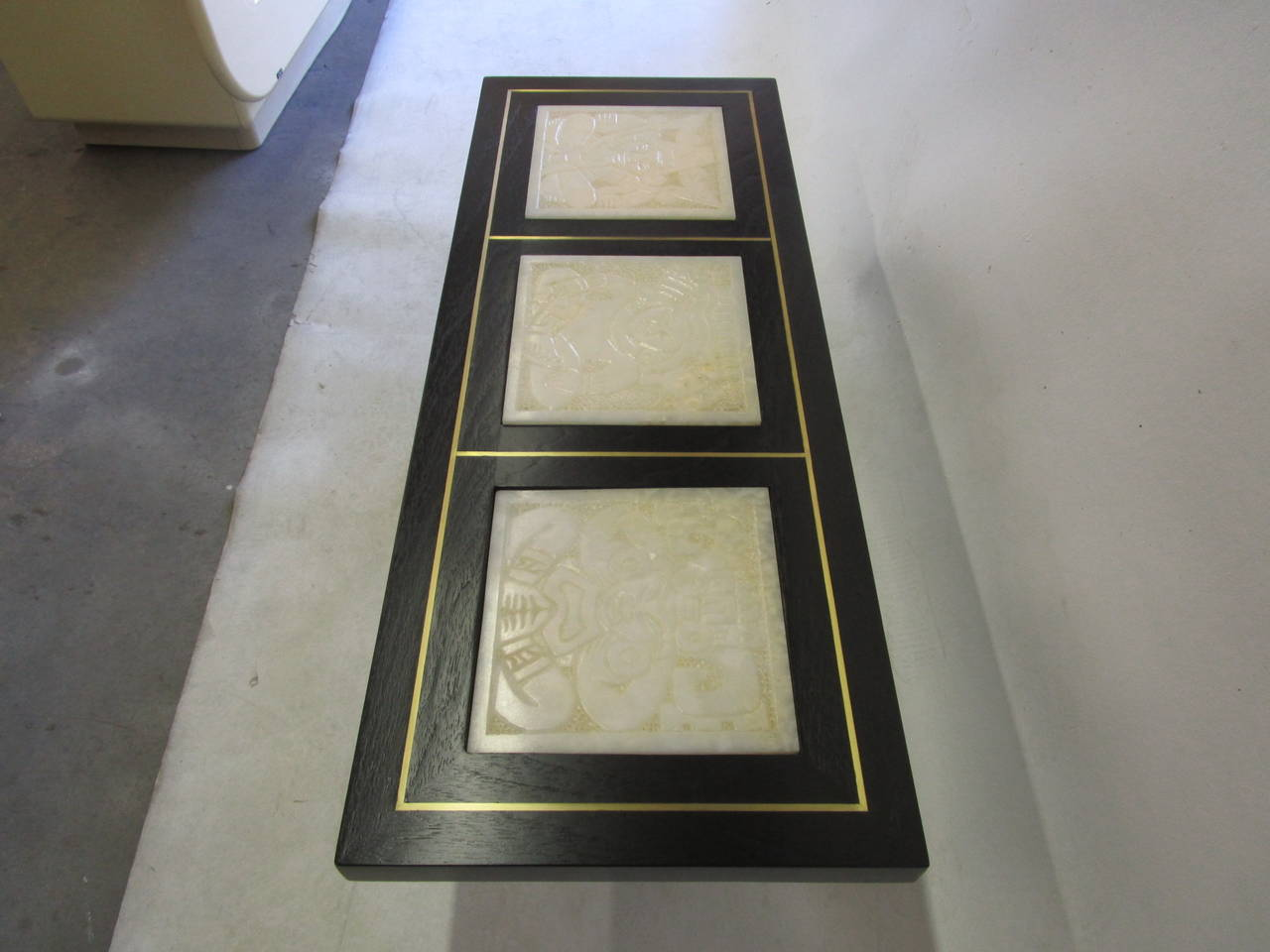 Alabaster Glass Panels : Unique hollywood regency coffee table with alabaster incas
