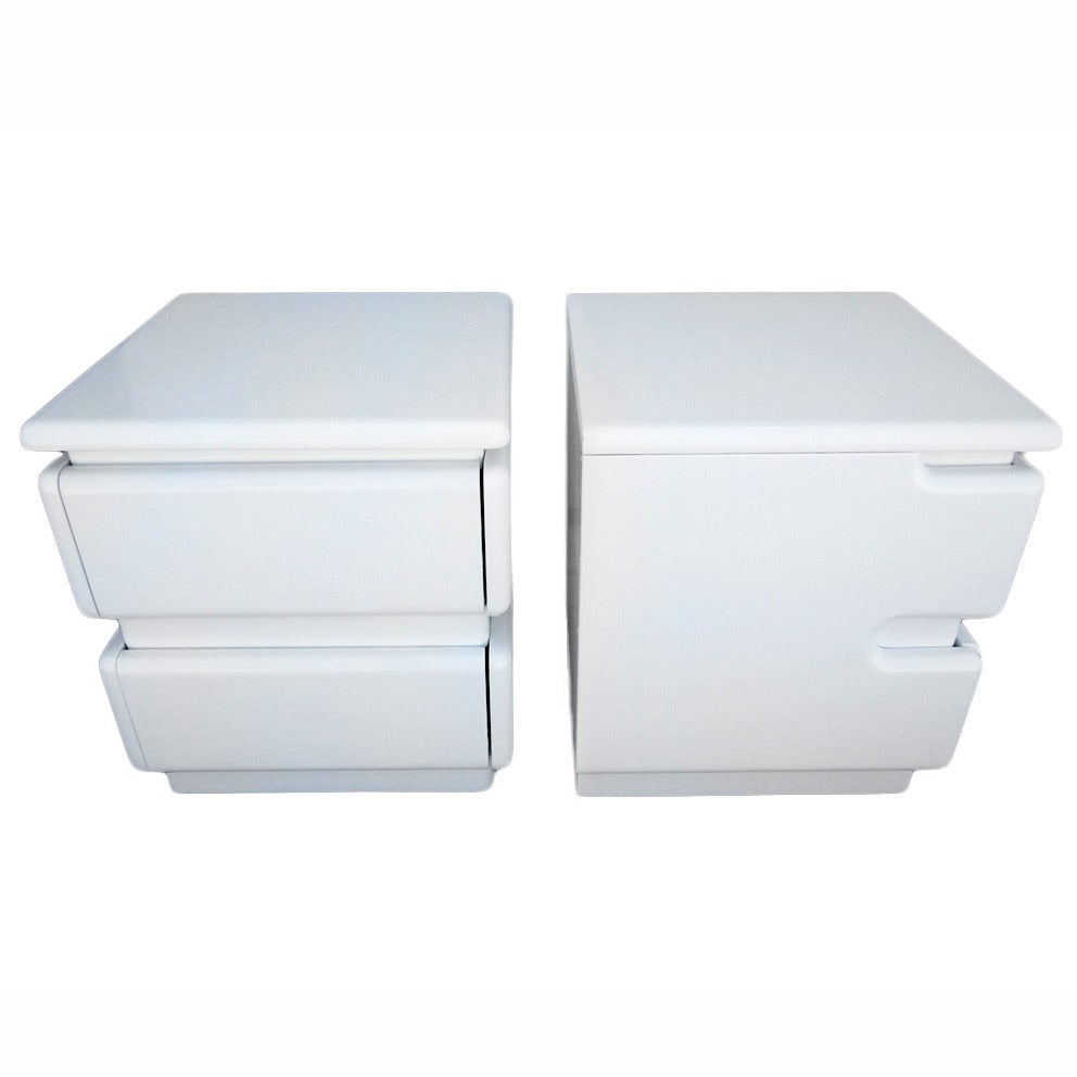 Pair of White Lacquer Night Stands by Rougier