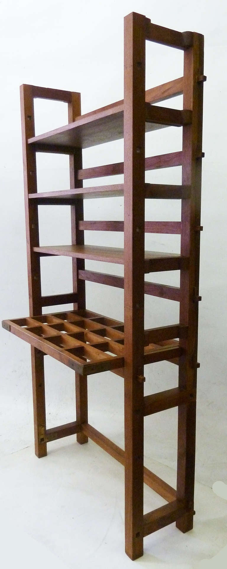 Craftsman style bookshelf with desk at 1stdibs for Craftsman style bookcase plans