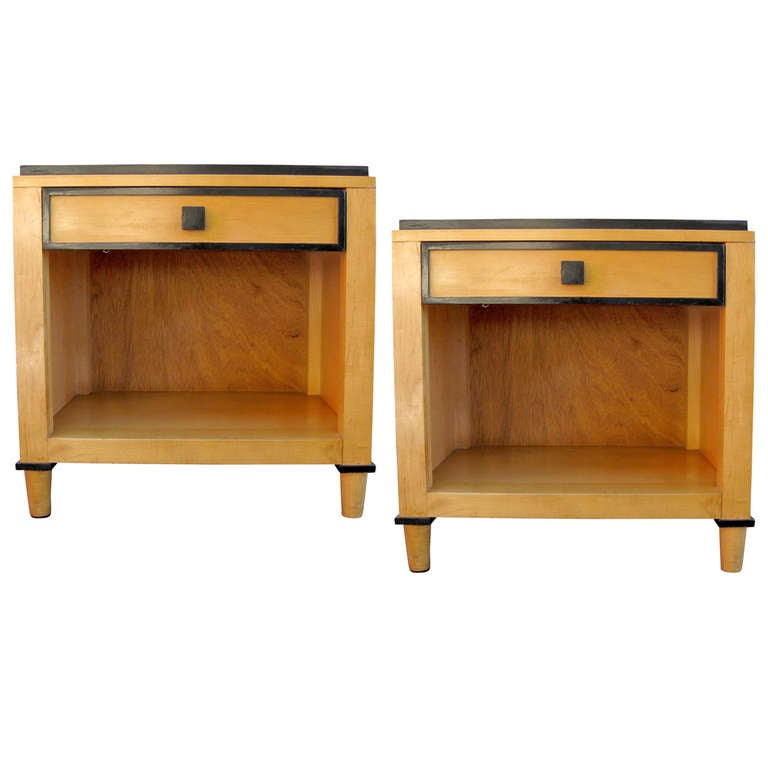 Pair of Two Tone Wooden Side Tables by Kimball Hospitality For