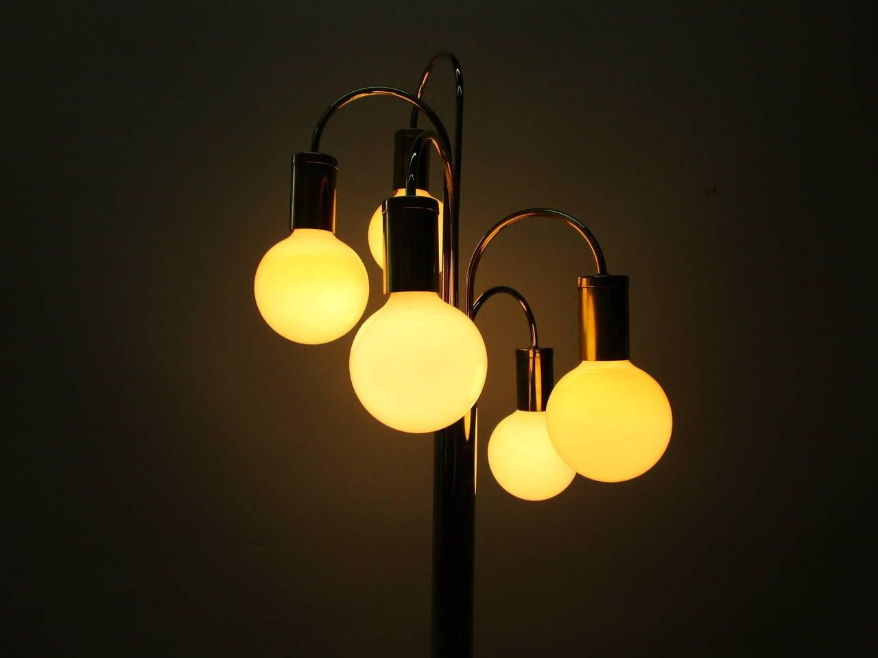Waterfall Five-Arm Brass  Floor Lamp by Robert Sonneman 1