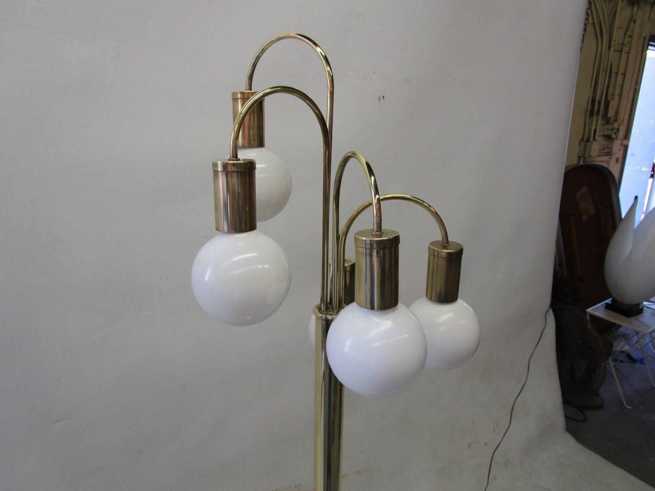 Waterfall Five-Arm Brass  Floor Lamp by Robert Sonneman 3