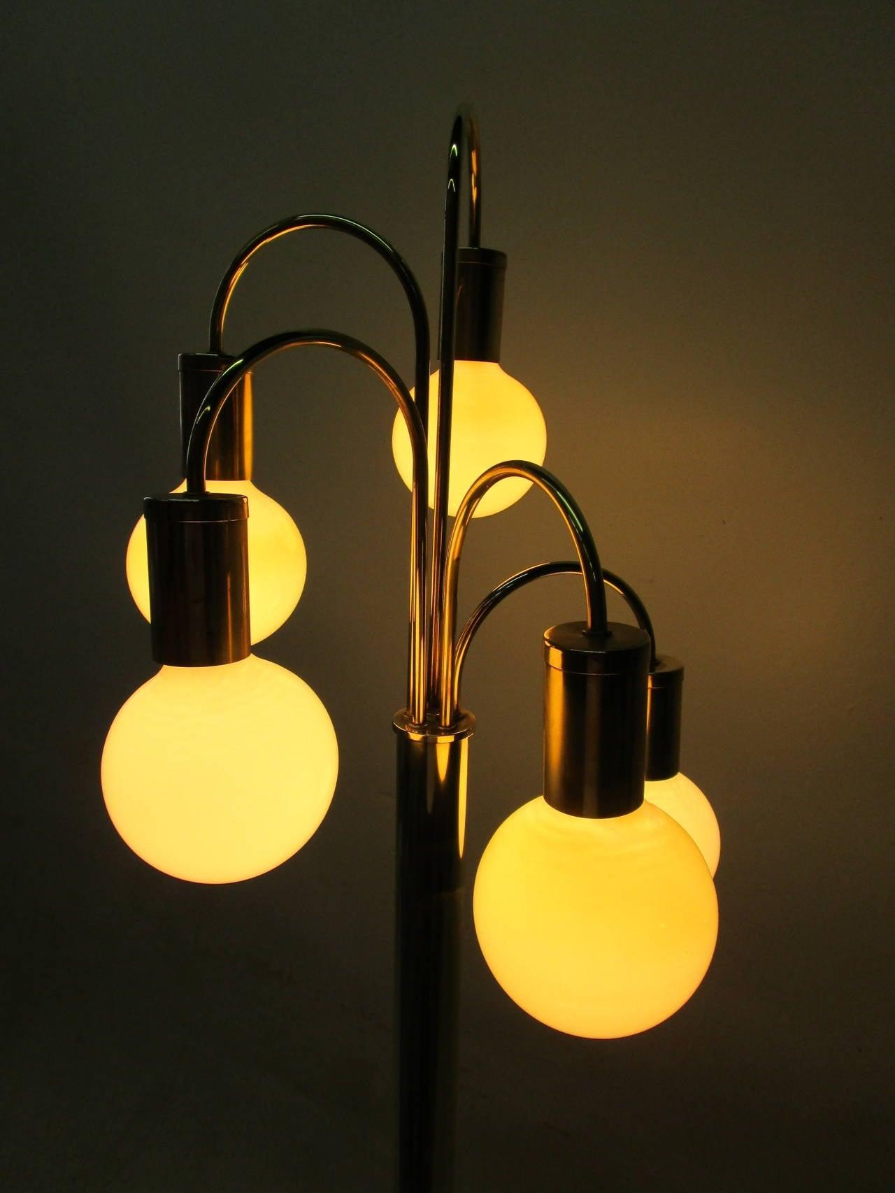 Late 20th Century Waterfall Five-Arm Brass  Floor Lamp by Robert Sonneman
