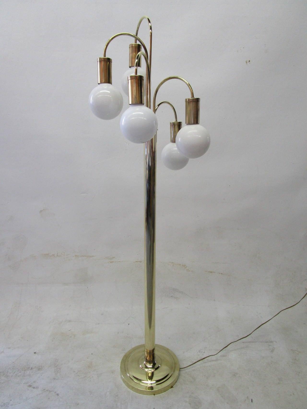 Waterfall Five-Arm Brass  Floor Lamp by Robert Sonneman 2